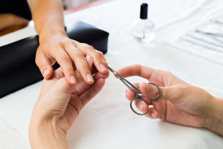 Manicurist trimming a clients cuticles to enhance her fingernail while performing a manicure in a beauty salon or spa