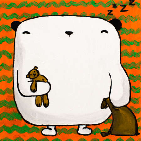 oso blanco: Illustration acrylic white teddy bear sleep with pillow and toy bear under the paw on an orange background with green stripes. Pictures on a square canvas in the nursery.