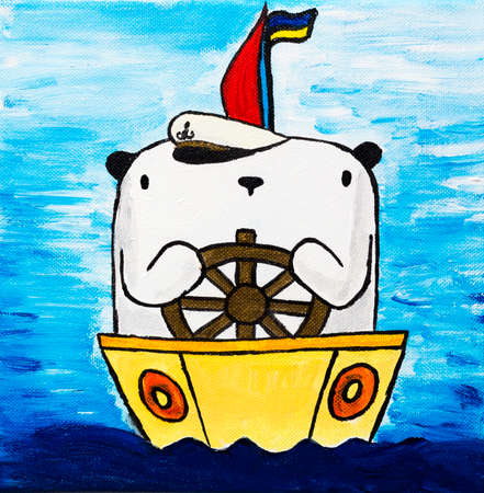 square shape: Picture paints white teddy bear captain on ship in blue sea or ocean. Illustration painted on canvas square shape.