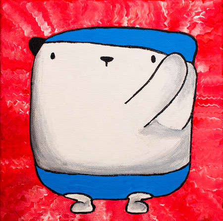 square shape: Art Oil white teddy bear in blue swimming suit on bright pink background.Painting on canvas square shape.