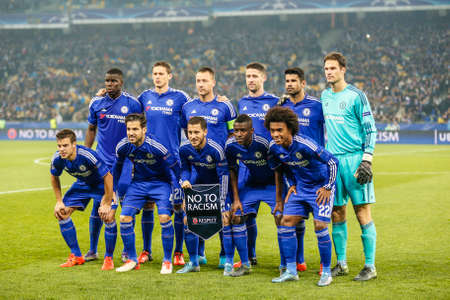 champions league: FC Dynamo Kyiv vs Chelsea - UEFA Champions League Prtrait of Chelsea Champions League the Olympic NSC 20 October 2015 in Ukraine in Kyiv Editorial