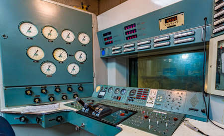 turbofan: Working area in an aircraft factory. Operating panel with instrumentation and control levers.