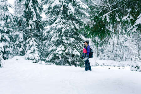 ski walking: Winter travel girl with a backpack in snow-covered forest. Girl in pink ski suit walking on winter snowy road with sunny forest on background.