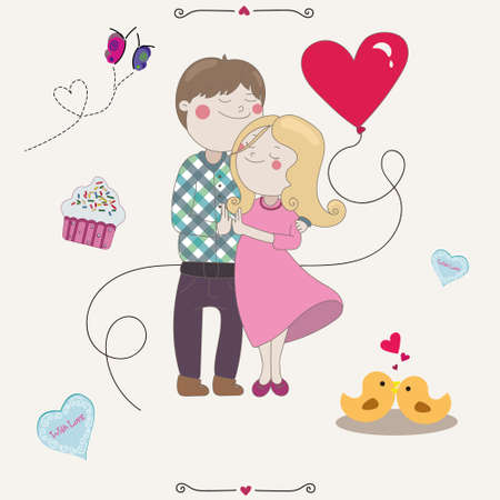 valentine s day: Couple in love stain together boy and girl hugging. Valentine s Day. Cookies, love birds and happiness. Illustration