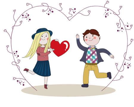 Boy presentado a su novia bonita corazón rojo grande para el Día de San Valentín, felicidad, y saltar, vid con los corazones
