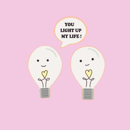 incandescent: Vector illustration of a couple cartoon funny incandescent lamps with happy smiling facesand hearts in hands are talking love words to each other.