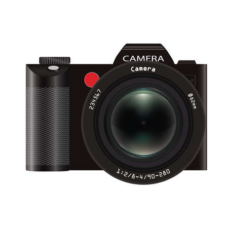 mirrorless camera: Realistic mirrorless photo camera with lens green glass front view. Isolated on white background. Vector illustration.