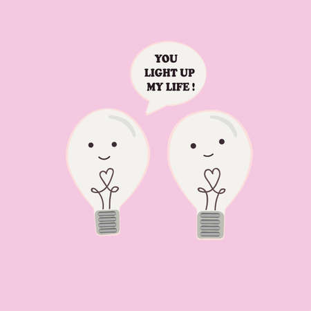 cute animals: Two incandescent light bulbs in love talking to each other. Creative idea of lamp love each other.