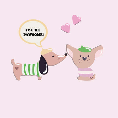 doggie: Two cute French dogs in love. Doggie talk to each other on a pink background.