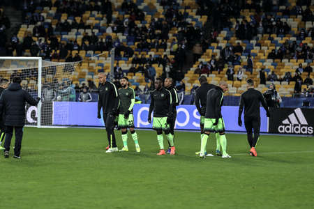 olimpiyskiy: KYIV, UKRAINE - FEBRUARY 24, 2016: UEFA Championes League game with Dynamo Kyiv and  Manchester City FC at NSC Olimpiyskiy stadium. Round of 16 - 1st leg. Editorial