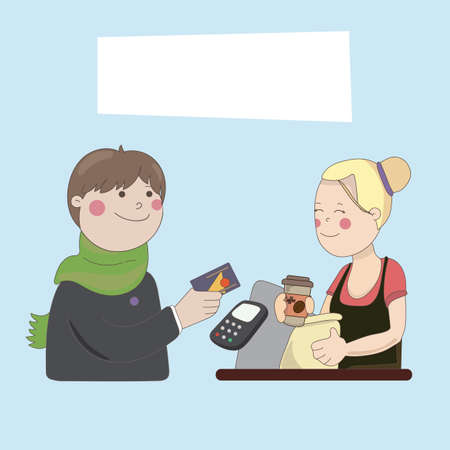 cashless: The guy in the cafe buy coffee by credit card cashless payments