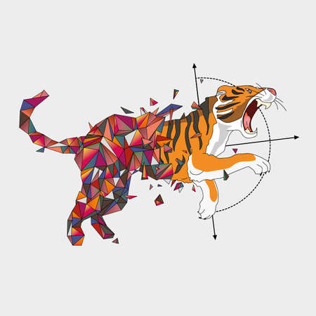 leaping: Jumping tiger from triangulating world to flat world.