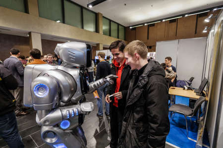 KYIV, UKRAINE - FEBRUARY 24, 2016: Innovation and tehnologies of robotics and artificial intelligence 新聞圖片