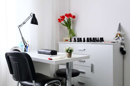 chear: Working space for manicure with chear, nail manicure, bright room and equipment
