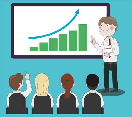 public speaker: Public Speaker near projector, with the schedule businessman giving a speech to a crowd of people. Illustration