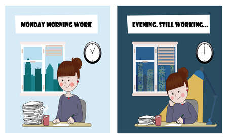 jornada de trabajo: Hard working day of one beautiful girl. from morning to late evening