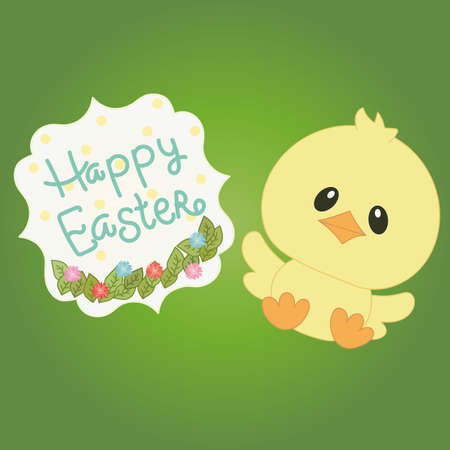 chick: Small yellow easter chick on green background with text