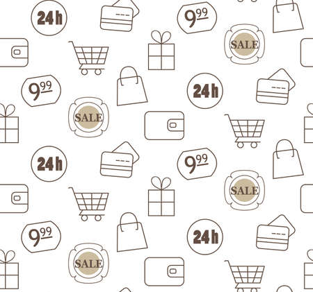 purchases: Simple monochrome vector pattern of purchases and discounts. Illustration of shopping carts, shopping, 24 hours of work, credit cards.