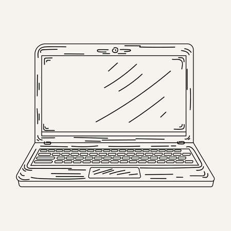 full face: Sketch an open laptop in vector. Stylish computer and is drawn full face. Illustration