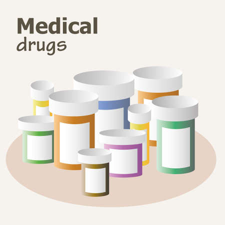 medicine bottles: Container for pills and drugs. Set of medicine bottles