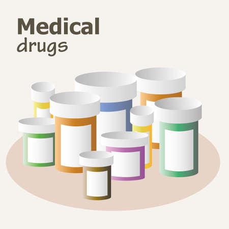 prescription bottles: Container for pills and drugs. Set of medicine bottles