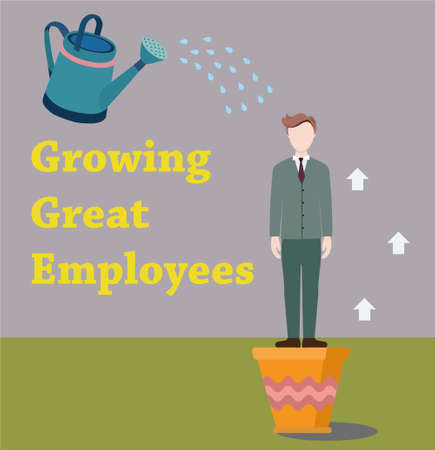 great suit: Businessman growing in a pot. Man in a suit sprinkled with water from the watering can. Growing great employees