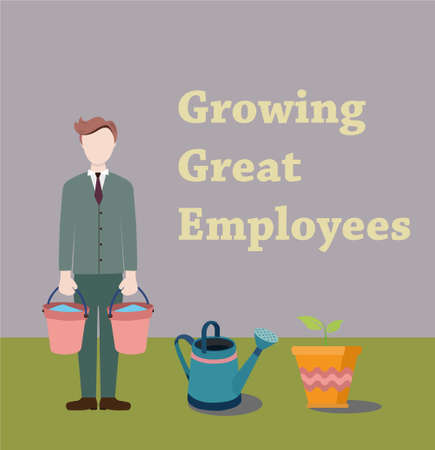 business partner: The process of creating new worker. The employee creates a new business partner. Illustration