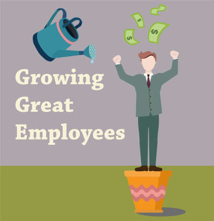 great suit: Employee makes money. Man in a suit sprinkled with water from the watering can. Growing great employees Illustration