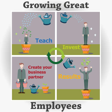 business partner: Stepping career employee. The process of creating a great business partner. Illustration