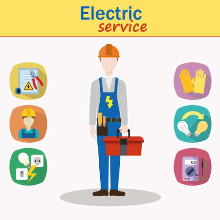 electrocution: Cool vector male electrician character standing holding tool box. Professional person ready for work, flat design isolated. Icons electricity topic.