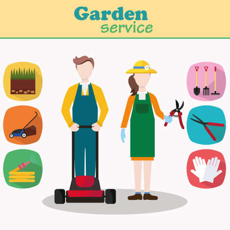lawn care: Couple of gardeners vector characters with lawn mower and garden equipment. Young man and woman workers in workwear. Gardening Icons flat design. Illustration