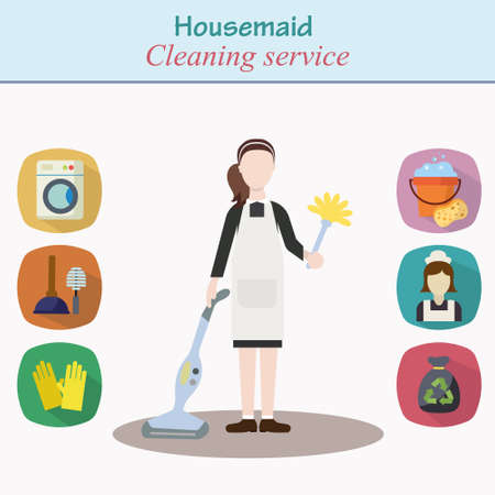 モダンなフラット スタイルの異なるハウスキーピング アイコンと家の仕事に準備ができて家サービス - 若い女性キャラクターをクリーニングします