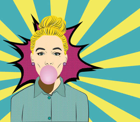 chew: Pop Art Woman with Gum vector illustration. Chew gum. On blue and yellow background. Illustration