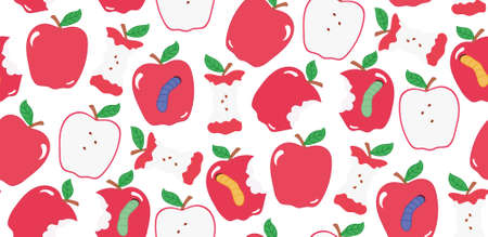 apple core: Seamless cute bright colorful apple pattern . red apples, apples with worms, apple core.