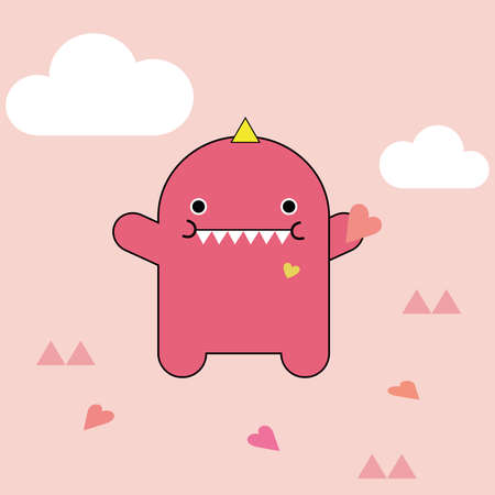 pinky: Cute pink monster illustration with hearts and clouds on light pinky background. Stock Photo