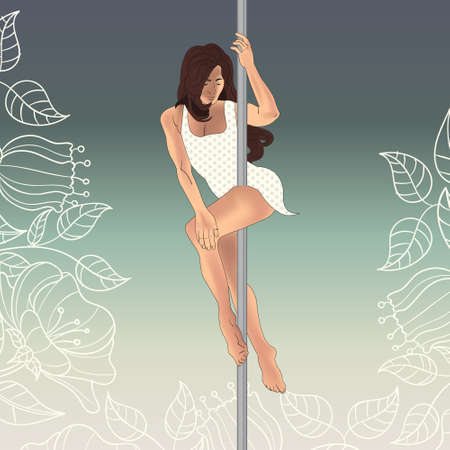 pole dancer: girl dancing on a pole. Young woman pole art dancer in a white swimsuit. Background of flowers and leaves. Illustration