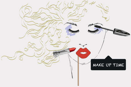 make up artist: Features woman face with make up artist objects, sketch, hand draw. Time to make up hand drawn poster with lettering. Design elements for advertising of cosmetics. Morning makeup and personal care.