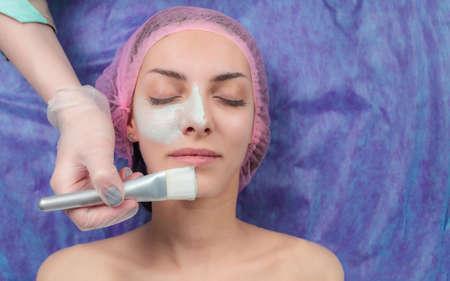 cosmetician: Beautiful woman with facial mask at beauty salon. Cosmetician Applying Facial Beauty Mask For Young Woman At Spa beauty Salon. Closeup cosmetologist applying facial mask by brush in spa.