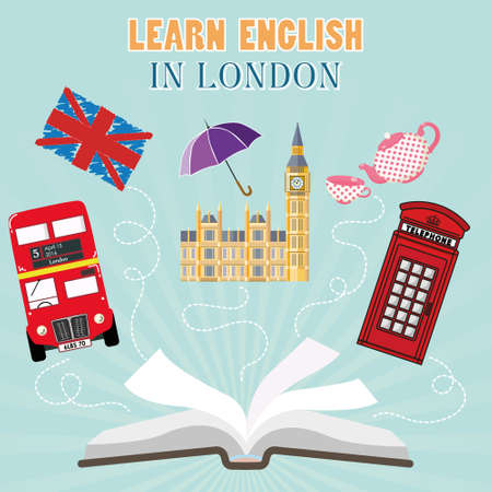 red telephone box: Abroad Language School. Studying foreign languages concept. Open book with England flag and english symbols. Flat design, illustration. text - Learn english in London.