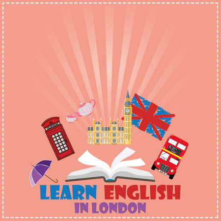 red telephone box: Concept of travel or studying English. Open book with English symbols - Big Ben, red bus, red telephone box. Flat design, illustration