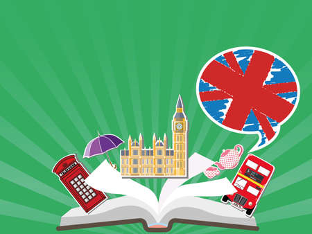 telephone box: English Language School poster. Learn english in London or England, design illustration. Open book with characters England - Big Ben, red bus, red telephone box.