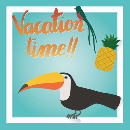 vacation time: Its Summer Time or vacation time. Tropical hawaii summer vacation. exotic parrots birds abstract isolated illustration
