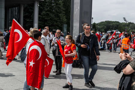occupy movement: Berlin, Germany - May 28, 2016: Turkish groups protest vote on Armenian genocide resolution. On Potsdamer platz Editorial