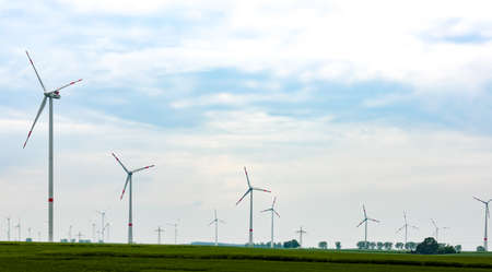 energy production: Panorama of the field with eco electric windmills.Windmills outdoor under blue sky on green field.Group of eco windmills for renewable electric energy production.