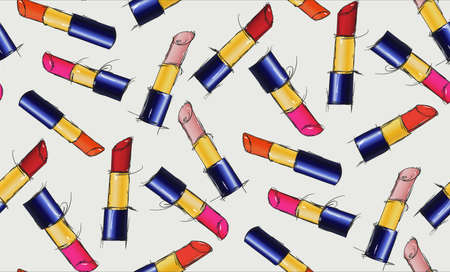 pomade: Beautiful seamless pattern of multi-colored lipsticks. seamless pattern with lipsticks. Pomade hand-drawn illustration