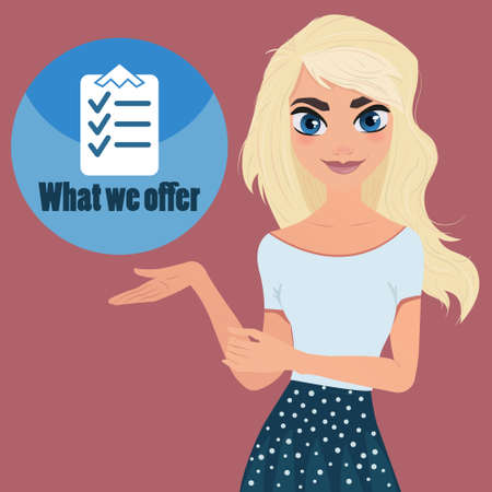 special character: Beautiful woman shows special offer or checklist. Character cartoon design Illustration. Girl and check mark in list. The Document put the blue check mark in checklist.