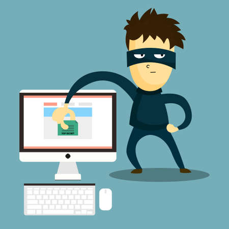 Hacker steals the document from your computer. The swindler steals data from computer. Computer hacker hacking robbery secret data.