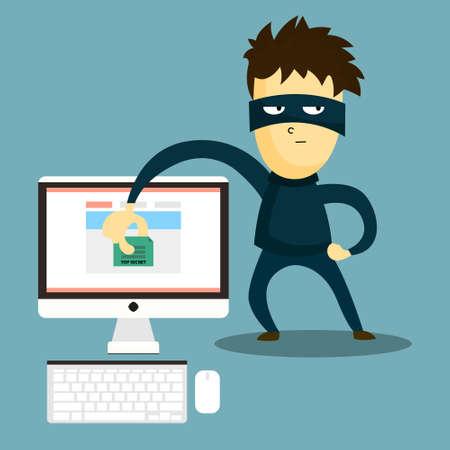 Hacker ukradł dokument z komputera. Swindler kradnie dane z komputera. haker hacking rabunkowym tajne dane. Ilustracje wektorowe