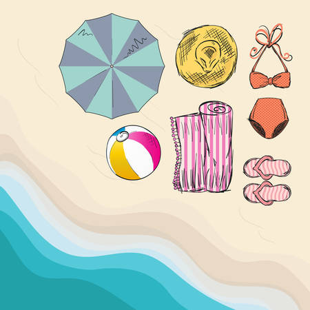 sea side: Summer sketch objects on the beach. Summer beach in flat design, sea side and beach items, illustration. Aerial view of summer beach. Slippers and towel, bikini and summertime. Illustration