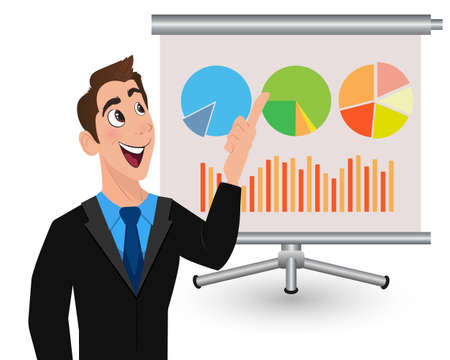 sales meeting: Happy young man shows presentation on projection screen. Businessman pointing important section of the growing sales chart. Concept of presentation, meeting, financial report or business plan.
